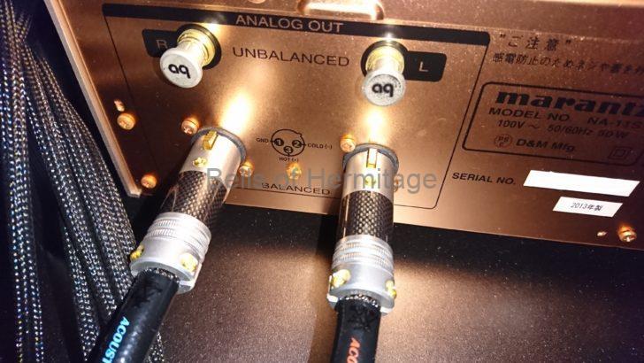 ネットワークオーディオ Marantz NA-11S1 AV8802A XLR端子 アメリカ式 ヨーロッパ式 極性 2番HOT 3番HOT 反転 設定 メニュー Phase Normal Inverted 正相 逆相 Acoustic Revive Power Reference-TripleC FM ファインメットビーズ 電源ケーブル 交換