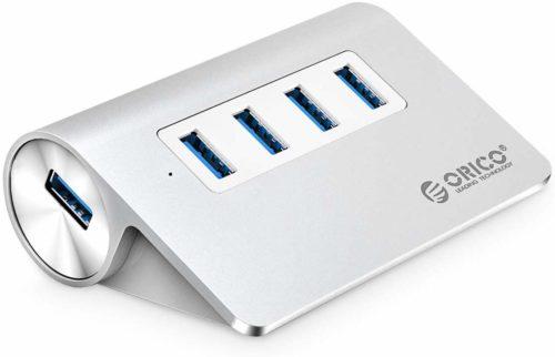 パソコン USB3.0対応ハブ ORICO M3H4-SV ASUSPro EeeBox PC E510 5Gbps Mac 高放熱 アルミ OTG対応