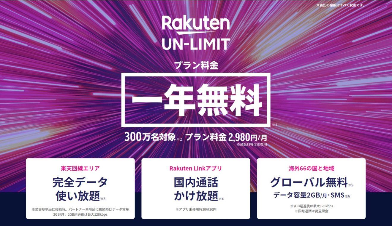1年間無料だと?楽天モバイル Rakuten UN-LIMITへの申し込み~本当に完全データ使い放題、通話かけ放題なの?~