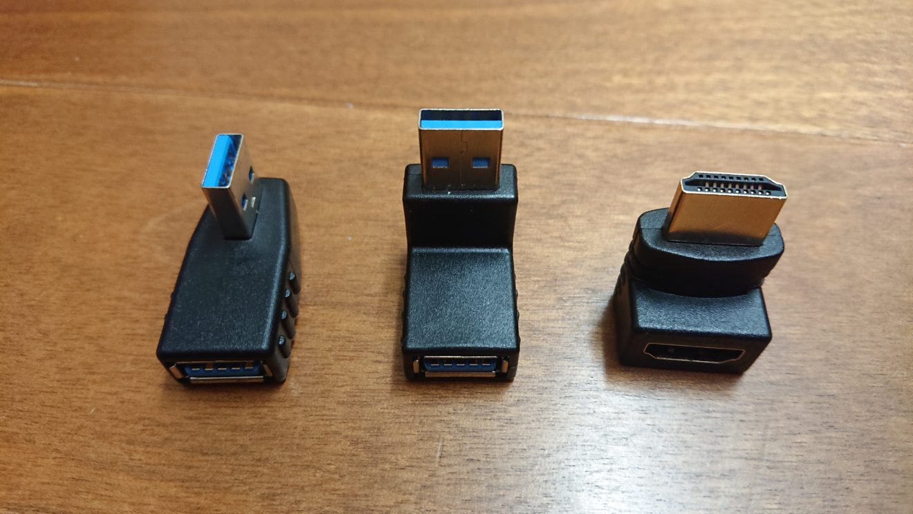 HDMI、USB端子のL型変換プラグの購入(1)AFUNTA USBアダプタ&HDMIアダプタ