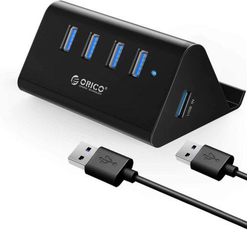 パソコン USB3.0対応ハブ ORICO M3H4-SV ASUSPro EeeBox PC E510 5Gbps Mac 高放熱 アルミ OTG対応 スマホホルダー SHC-U3