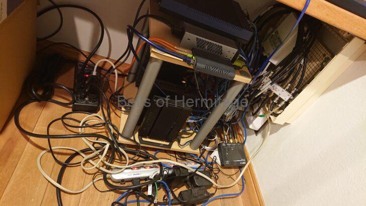 ホームシアター オーディオ ネットワーク ルータ スイッチ スイッチングハブ 3層 フローティングシェルフ 冷却ファン USB 排熱 整理 配線 PR-600KI YAMAHA RTX1100 RTX1200 Hobbes HME2-1000SX/SC550 Cisco SG100-16 Buffalo WMR-433W ミハル通信 SP-CV32M MASPRO 10BCBW30U